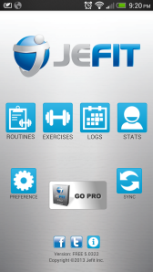 JEFIT Home Screen